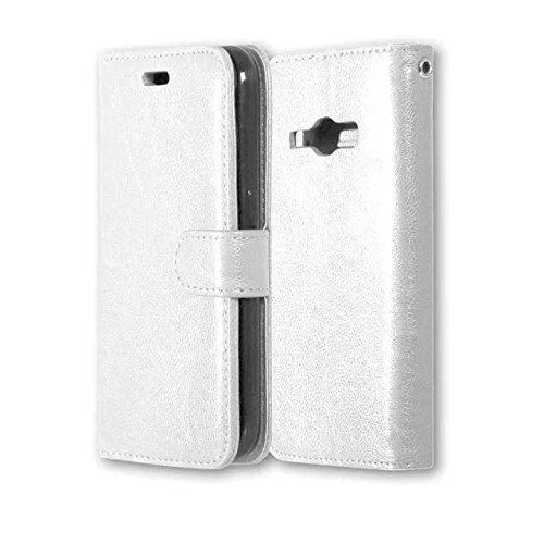 Wkae Case Cover Solide étui en cuir couleur PU avec couvercle Silicone Cover Case Magnetic Béquille pour Samsung J1 2016 J120 J16 by DIEBELLEU ( Color : Black , Size : Samsung J1 2016 J120 J16 ) White