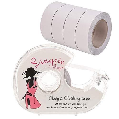 SihaiDage Nizza Boob Body Tape Clear Stoff Doppelseitige Kleidung Band 5 Meter mit 5 Bändern und einem Dispenser für Kleid Geheime Bra Tape, 82 Füße