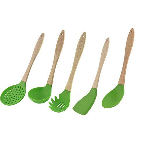 sourcingmap� Wooden Handle Silicone Head Household Kitchen Ladle Pancake Turner Cooking Utensil Set 5 in 1