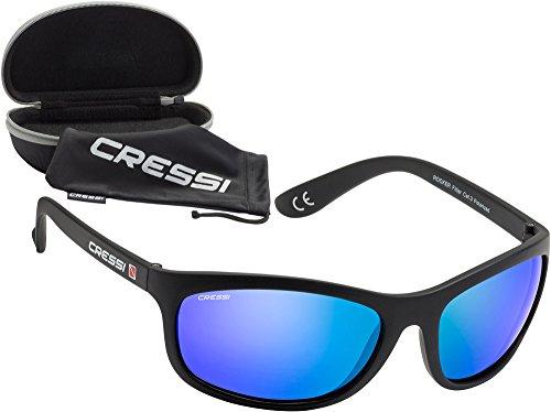 Cressi rocker occhiali da sole sportivi uomo con custodia rigida, unisex adulto, nero/blu - nero/blu, m