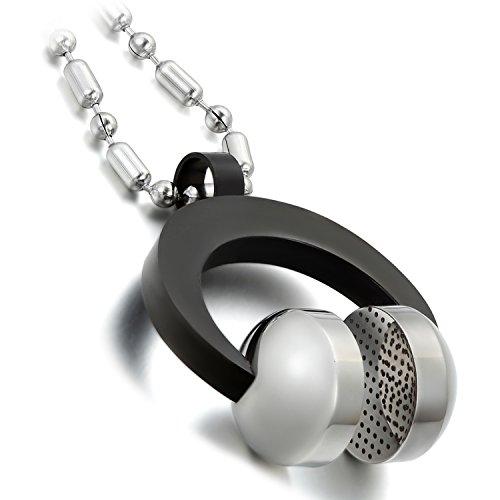 Cupimatch Herren Edelstahl Anhänger, Musik Kopfhörer Headset Anhänger, 55cm Kette Halskette , silber schwarz