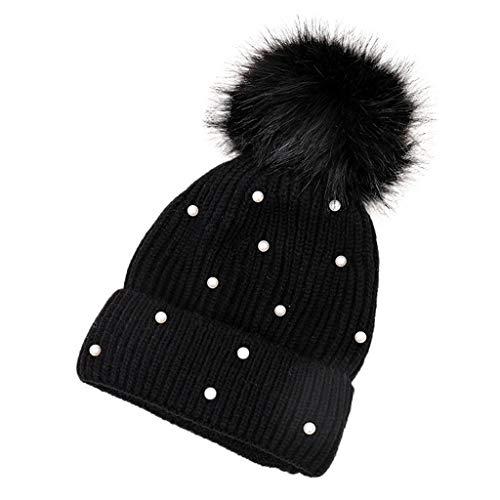 Deelin caldo inverno palle di pelo perla a maglia beanie pizzo berretto cappello per unisex donne le signore