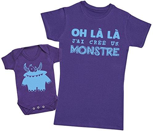 Zarlivia Clothing Oh là là J'Ai créé Un Monstre Bleu - Ensemble Mère Bébé Cadeau - Femme T Shirt & bébé Bodys - Violet - XL & 12-18 Mois