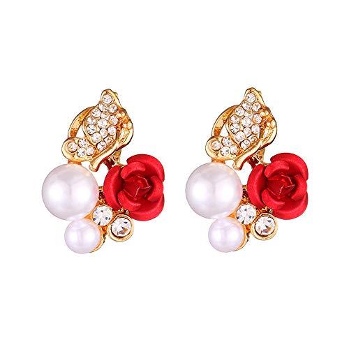 Perle Ohrstecker Damen Strass Ohrringe Mit Rote Rose,Lialbert ModeSchmuck Elegante MäDchen Geschenk (Gold)