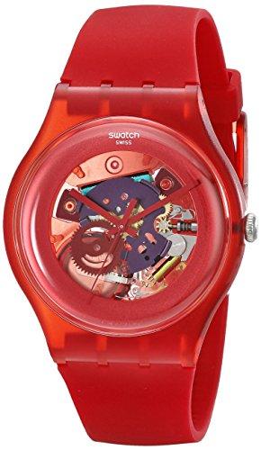 Swatch SUOR101 – Reloj analógico de cuarzo unisex, correa de plástico color rojo