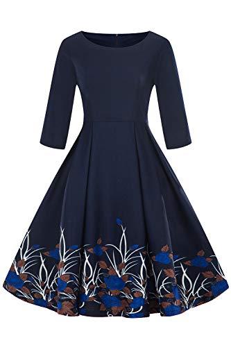 MisShow Damen Elegant Rockabilly Abendkleid Swing Retro Partykleid Knielang Schwarz L - 1950er Jahre Bleistift-rock