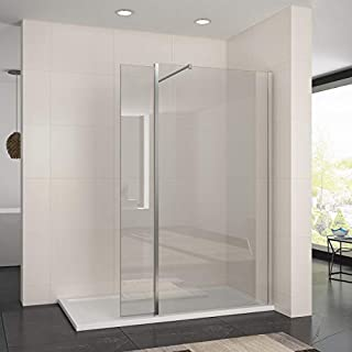 ELEGANT 1400mm Walk in Shower Enclosure 8mm Easy Clean Wetroom Shower Screen Panel 300mm Return Panel + 1400x800mm Stone Tray