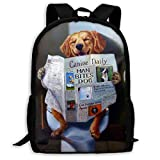 Zaino scuola, Funny Dog Watch Newspaper School Backpack Knapsack Casual Daypack Children Book Bag For Adults Kids