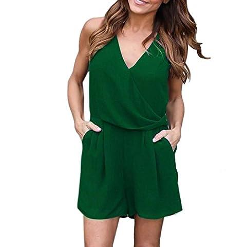 Bluester Women Solid Chiffon Beach Sleeveless Jumpsuit, Summer Party Short Mini Playsuit Dress (M, Green)