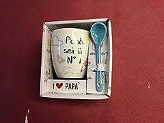 Idea Regalo - VIRCA Tazzina da caffè con cucchiaino Festa del papà Diversi Tipi Vedi Foto