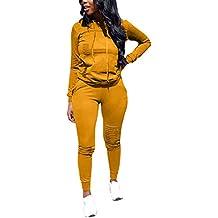 cccf9265a13c Minetom Femmes Jogging Yoga Gym Survêtement Sports Suits Manches Longues  Sweat-Shirt à Capuche et
