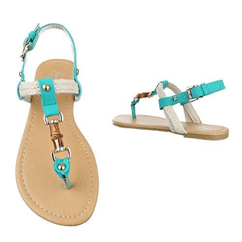 Zehentrenner Damenschuhe Peep-Toe Blockabsatz Zehentrenner Schnalle Ital-Design Sandalen / Sandaletten Türkis