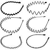 GOODCHANCEUK Haarreifen, 6 Stück, gewellt, rutschfest, mehrere Stile, Metall-Haarband, Haar-Accessoires für Damen und Herren