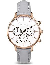 6d1a38eeda5 Vincero Luxe Femme Kleio montre bracelet – Or rose + Cadran blanc avec une  bande de cuir Gris montre – 38 mm…