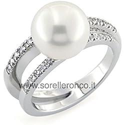 Anillo con Perla en Oro Blanco 18Kt y Diamantes