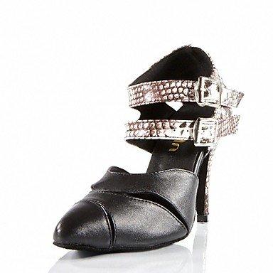 Silence @ pour femme moderne/Latin/salle de bal Chaussures de danse en similicuir Sandales Talon intérieure/performances Noir noir