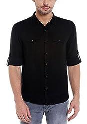 Spykar Mens Cotton Slim Fit Casual Shirt (Msh-01Ag-Myn-68_Black_Xx-Large)