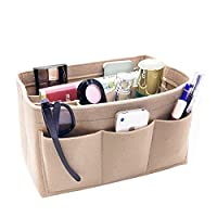 VANCORE Travel Handbag Organiser Insert Tidy Pocket Purse Cosmetic Storage for Women's, Beige-Large