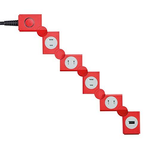 サンワサプライ 便利タップ 2P 4個口 USB充電ポート付き レッド TAP-B51R