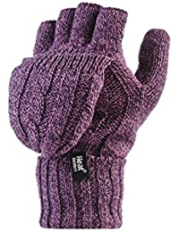 HEAT HOLDERS–Damen Thermo-Konverter Fingerlose mit Zopfmuster 2,3Tog Handschuhe–One Size
