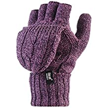Heat Holders - Women's Thermal Converter FINGERLESS Cable Knit 2.3 tog Gloves - One size