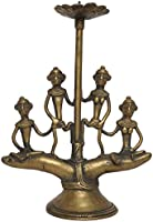 Tribes India Brass Candle Stand (13 cm x 6 cm x 18 cm, Gold)