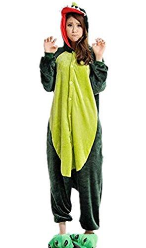 Winter warm Einteiler Schlafanzüge Tier Cartoon Sleepsuit Grüne Dinosaurier Cosplay Pyjama Erwachsene Kostüme Unisex Overall Pyjama (S#Referenzhöhe 150-160cm)