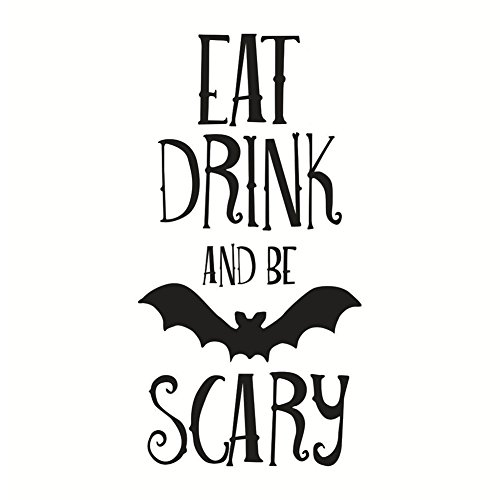 Lsgepavilion creative bat lettere stampa wall sticker halloween party door window decor