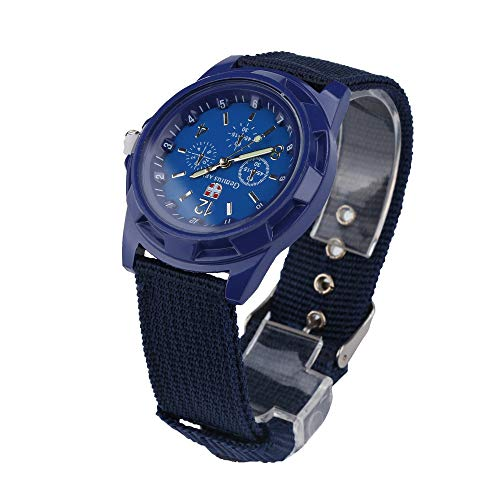 Lazzgirl Solider Militärarmee Grünes Zifferblatt Armee Sport Style Quarz-Armbanduhr(Schwarz Weiß Navy Green,One Size) -