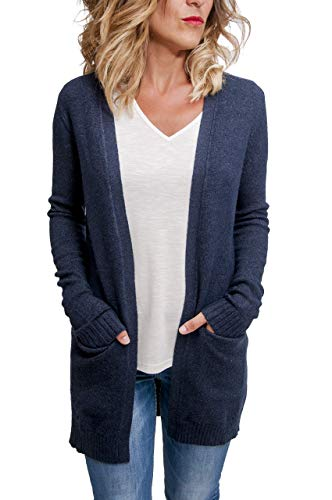 Vila Clothes Damen VIRIL L/S Open Knit Cardigan-NOOS Strickjacke, Total Eclipse (Melange), 38 (Herstellergröße: M)