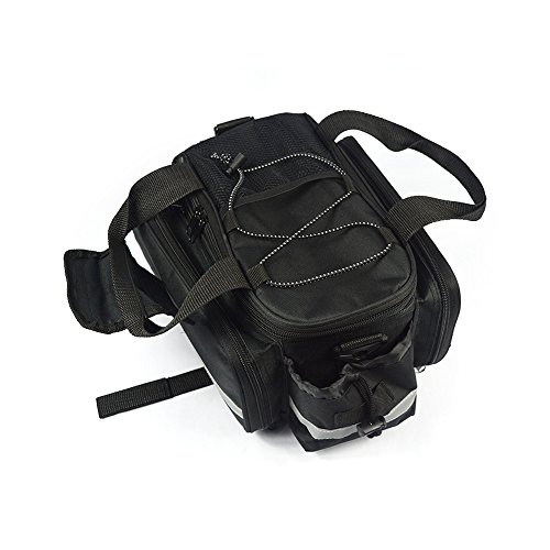 Fahrrad Gepäckträgertaschen, Fahrrad Rückseite Sitz Trunk Bag Wasserdicht Nylon Carrier Rack Tasche Multi Function Gepäck Tasche für Radfahren Reisen mit reflektierenden Tape Schwarz