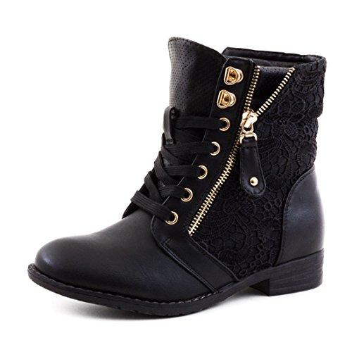 damen-stiefel-stiefeletten-worker-boots-spitze-lederoptik-schwarz-40
