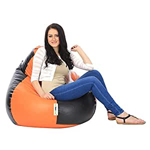 can bean bags XL Bean Bag Cover Without Beans - Orange and Black