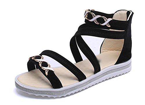 Nach dem Sommer Sandalen Reißverschluss hohle flache Sandalen schlüpfen Black