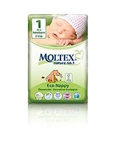 Moltex Nature n°1 BEAR Couches Jetables et Biodégradables pour bébés Différentes tailles (Taille 1 Newborn 2 à 4 kg, carton)
