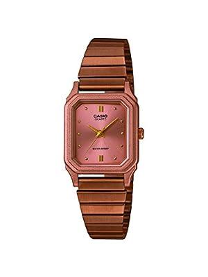 Casio - Reloj para mujer, correa de metal color oro rosa