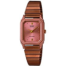 Casio LQ-400R-5AEF - Reloj para mujer, correa de metal color oro rosa, esfera rosa