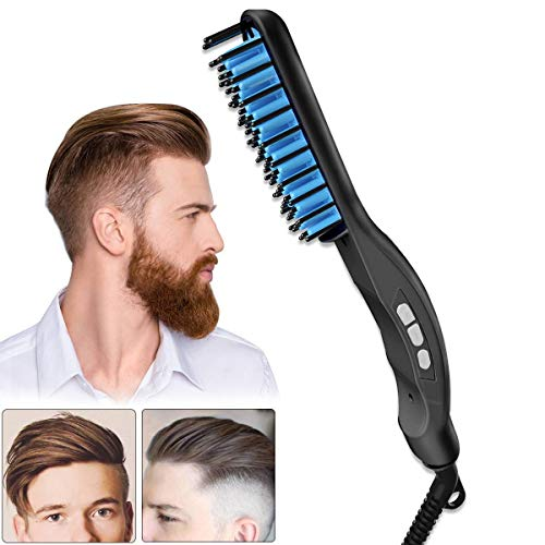 LinkLvoe Glättbürste Bartglätter Haarglätter Bürste Keramische Einstellbare Temperatur Schneller Aufheizung Stylingbürste LED Anzeige Tragbare für Männer und Frauen
