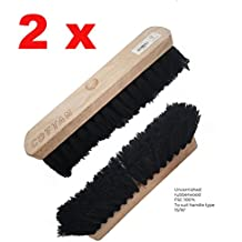 """Pack of 2 Wooden Soft Bristle Coco Brush Broom Head Floor Cleaning Sweeping 11"""""""
