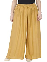 ZOYA COLLECTION Women's Fashionable Rayon Plazo (Gold, 3XL to 5XL)