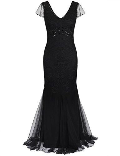 kayamiya Damen 1920er Kleid Maxi Lange Meerjungfrau Formale Abend-Abschlussball-Kleid Mit Kurzer Hülse S Schwarz