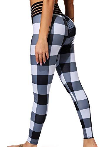 Karo Strumpfhosen (INSTINNCT Damen Hohe Taille Doppeltaschen Sport Leggings Strumpfhose Jogginghose Tights mit Säckel #1 Karo (Schwarz) M)