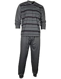 Herren Schlafanzug Pyjama Zweiteiler lang 2-tlg mit V-Ausschnitt in 3 Farben - Qualität von Lavazio®