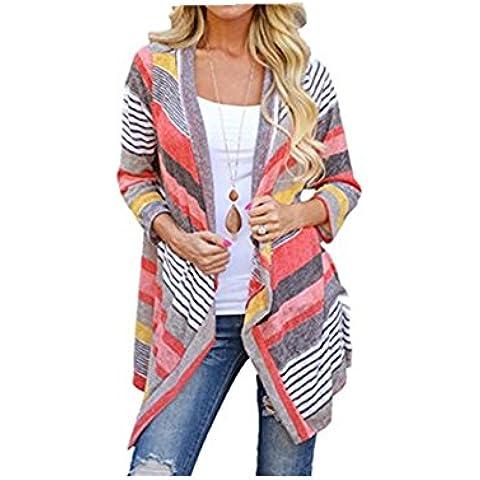 Fortan Le donne irregolari Stripe scialle kimono Cardigan Top Cover Up Camicetta