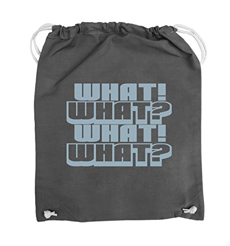 Comedy Bags - WHAT! WHAT! WHAT! WHAT! - Turnbeutel - 37x46cm - Farbe: Schwarz / Pink Dunkelgrau / Eisblau