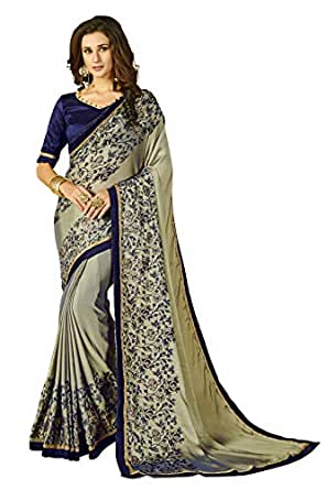 Glory Sarees Women's Rangoli Silk two tone Saree(luxury102_grey_blue)