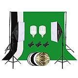 HomLand Greenscreen Fotostudio Softbox Dauerlicht Studioleuchte Reflektor Fotografie mit Softbox Set LED Fotolampe 2 x 3m Hintergrundsystem 1.6x3M Hintergrundstoff Tragtasche