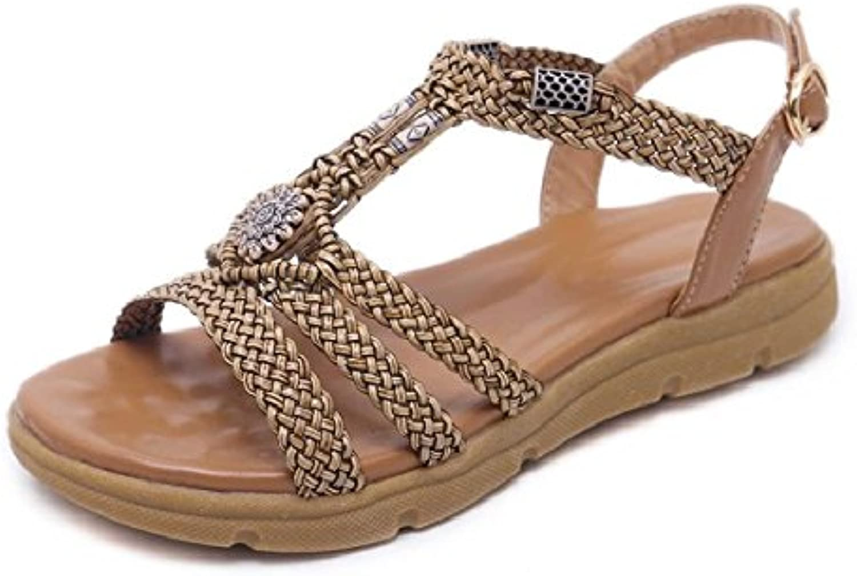YMFIE Bohemia Casual Moda Sandalias de Punta Abierta Señoras de Verano Rhinestones Planos Cómodos Zapatos de Playa... -