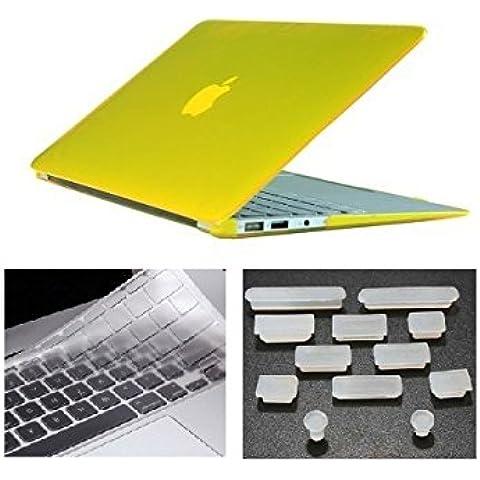 HYAIT 3in 1Ultra Sottile Cristallo Hard Case + tastiera copertura + Anti-Dust Plugs per Apple Macbook Air da 11.6A1370e A1465, colore: giallo