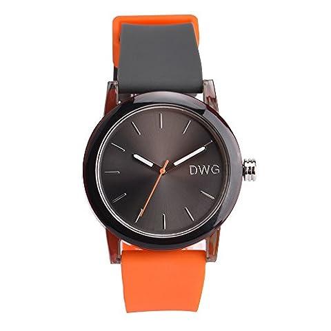 DWG Unisex Silicone Strap Couple Montre Quartz Sports Watch Casual Simple Style Silicone Strap Unisex Wristwatch Sports Montres-Black Dial (Orange)